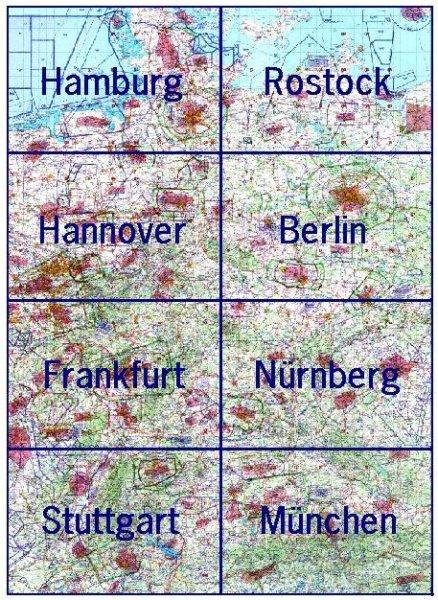 ICAO-Karten · Deutschland komplett (mit Folie) #2# 2021 · 8 Blätter (1:500.000)